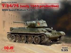 Soviet medium tank T34/76 ICM 35365 in scale 1-35