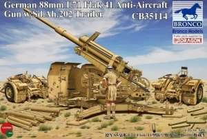 German 88mm L71 FlaK 41 Anti-Aircraft Gun w/Sd.Ah.202 Trailer 1:35