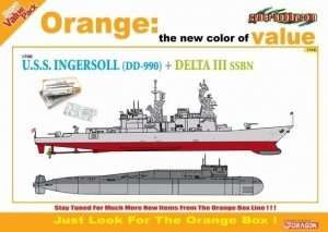 USS Ingersoll DD-990 vs Delta III SSBN in scale 1-700