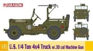 US 1/4 Ton 4x4 Truck w/30. cal Machine Gun in scale 1-6