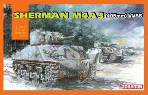 Sherman M4A3 105mm VVSS in scale 1-72 Dragon 7569