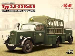 WWII German Light Fire Truck Typ 2,5-32 KzS 8 in scale 1-35 ICM 35403