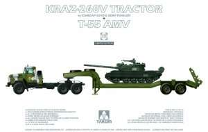 Kraz-260V Tractor and T-55 AMV in scale 1-35