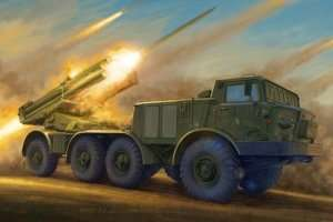 Russian 9P140 TEL of 9K57 Uragan MLRS in scale 1-35