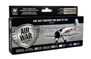 Vallejo 71149 Zestaw 8 farb - RAF Colors Day Fighters Pre-War to 1941