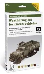 Vallejo 78406 Zestaw - Weathering set for Green vehicles - 6x8ml + 1x10ml