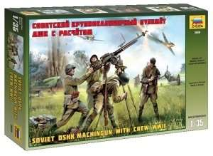 Soviet DSHK Machinegun with crew WWII in scale 1-35