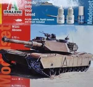 Italeri 77001 Czołg M1A1 Abrams - zestaw z farbami, klejem