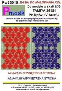 Masks - wheels - Pz.Kpfw.IV Ausf.J Tamiya 35181 1-35 Pmask Pw35015