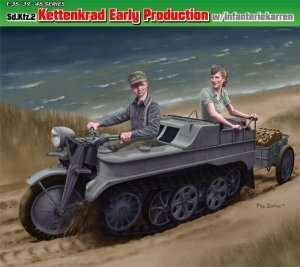 Sd.Kfz.2 Kettenkrad w/Infanterekarren in scale 1-35 Dragon 6341