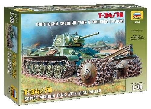 Radziecki czołg z okresu WWII T-34/76 z trałem przeciwminowym, plastikowy model do sklejania Zvezda 3580 w skali 1:35.