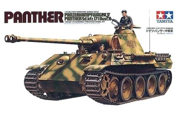Niemiecki czołg Pz.Kpfw.V Panther Ausf.A, plastikowy model do sklejania Tamiya 35065 w skali 1:35.