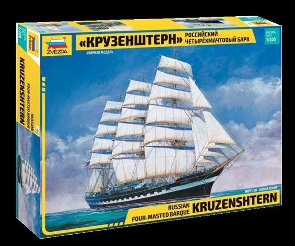 Rosyjski czteromasztowy bark STS Kruzensztern, plastikowy model do sklejania Zvezda 9045 w skali 1:200.-image_Zvezda_9045_1