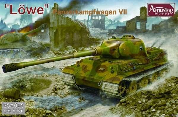 Niemiecki super ciężki czołg Pz.Kpfw. VII Lowe (lew), plastikowy model do sklejania Amusing Hobby 35A005