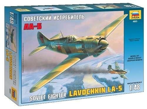 Radziecki jednosilnikowy, jednomiejscowy samolot myśliwski Ławoczkin Ła-5, plastikowy model do sklejania Zvezda 4803 w skali 1:48.