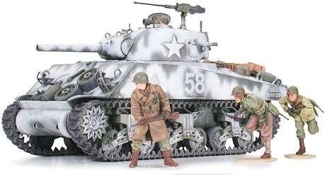 Amerykański czołg średni M4A3 Sherman z działem 105mm, plastikowy model do sklejania Tamiya 35251 w skali 1:35.-image_Tamiya_35251_1