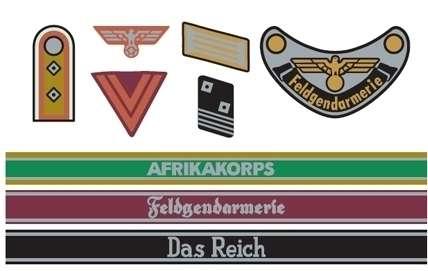 Kalkomania na figurki niemieckich żołnierzy z okresu WWII (Africa Corps / Waffen SS) w skali 1/35, Tamiya 12641. -image_Tamiya_12641_1