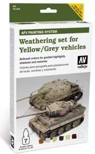 Vallejo 78405 Zestaw - Weathering set for Yellow / Grey vehicles 6x8ml + 1x10ml