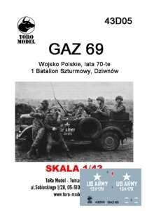 43D05 Kalkomania 1-43 GAZ 69 Wojsko Polskie lata 70-te