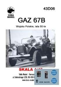 43D06 Kalkomania 1-43 GAZ 67B Wojsko Polskie, lata 50-te