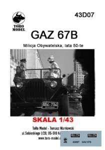 43D07 Kalkomania 1-43 GAZ 67B Milicja Obywatelska, lata 50-te