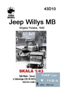 43D10 Kalkomania 1-43 Jeep Willys MB Wojsko Polskie, 1945
