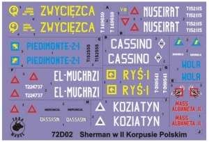 72D02 Polska kalkomania 1-72 Shermany w 2 Korpusie Polskim, Włochy 1945