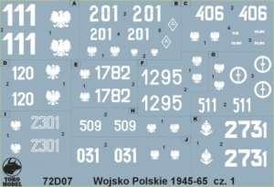 72D07 Polska kalkomania 1-72 Wojsko Polskie 1945-65 cz.1
