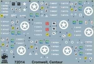 72D14 Kalkomania polska - Cromwell, Centaur w PSZ skala 1/72