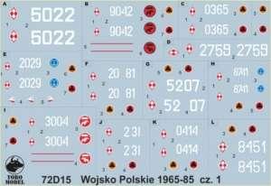 72D15 Kalkomania 1-72 Wojsko Polskie 1965-85 cz.1
