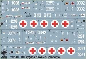 72D18 Kalkomania 1-72 Pojazdy 10-tej Brygady Kawalerii Pancernej