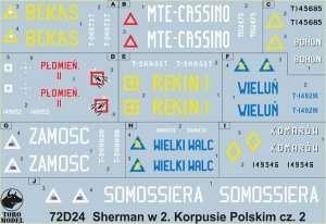 72D24 Kalkomania - Sherman w 2. Korpusie Polskim cz. 2 skala 1/72