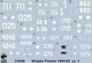 72D26 Kalkomania 1-72 Wojsko Polskie 1945-65 cz.2