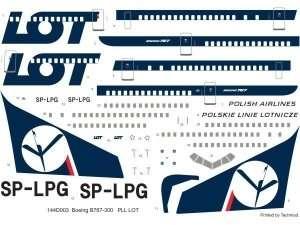 Kalkomania PLL LOT - Boeing 767 w skali 1/144