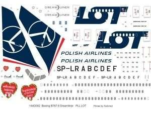 Kalkomania PLL LOT - Boeing 787-8 Dreamliner w skali 1/144
