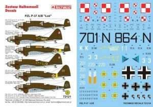 Kalkomania do PZL P-37 A/B Łoś skala 1-72 Techmod 72121