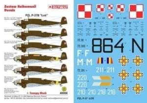 Kalkomania do PZL P-37B Łoś skala 1-48 Techmod 48066