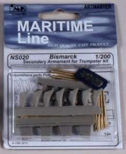 Metalowe lufy do modelu Bismarck skala 1:200 12szt - CMK NS020