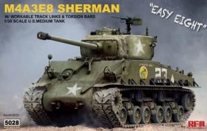Model czołgu M4A3E8 Sherman z ruchomymi gąsienicami Rye Field Model RM-5028