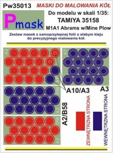 Pmask Pw35013 Maski koła - M1A1 Abrams Tamiya 35158 1-35