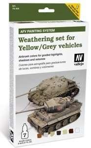 Vallejo 78405 Zestaw - Weathering set for Yellow / Grey vehicles 6x8ml + 1x10ml