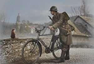 MB 35173 Francuski żołnierz z rowerem (fototrawione elementy) - WWII