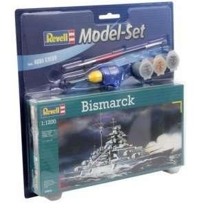 Revell 65802 Okręt Bismarck - zestaw z klejem i farbami