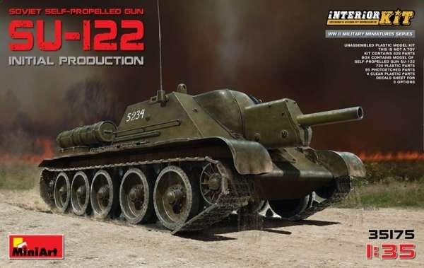 Radzieckie działo samobieżne SU-122 z dokładnie odwzorowanym wnętrzem, plastikowy model do sklejania MiniArt 35175 w skali 1:35
