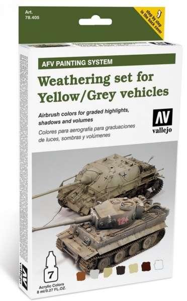 Zestaw do weatheringu - żółte i szare pojazdy, Vallejo 78405.