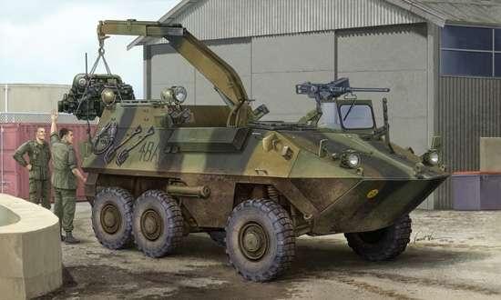Kanadyjski kołowy wóz opancerzony zaplecza technicznego AVGP Husky , plastikowy model do sklejania Trumpeter 01503 w skali 1:35