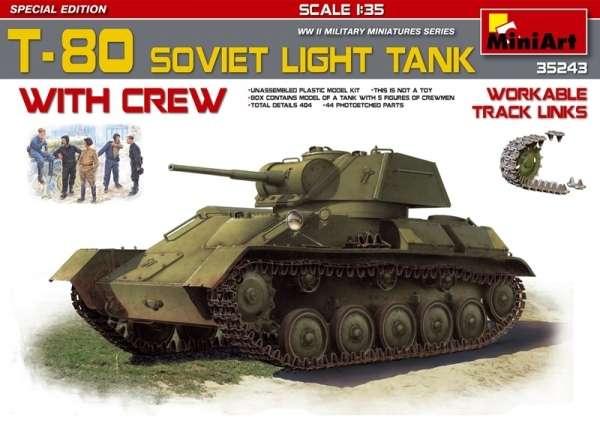 Radziecki lekki czołg T-80 wraz z załogą, plastikowy model oraz figurki do sklejania MiniArt 35243 w skali 1:35