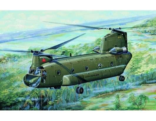 Amerykański helikopter transportowy Boeing CH-47A Chinook, plastikowy model do sklejania Trumpeter 01621 w skali 1:72