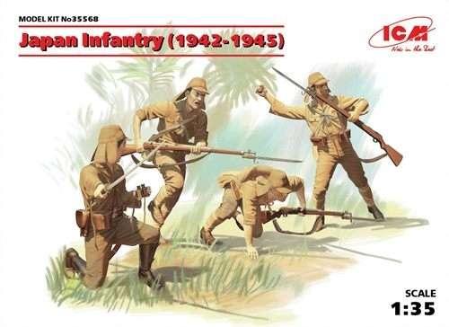 Japońska piechota z czasów II wojny światowej, plastikowe figurki do sklejania ICM 35568 w skali 1:35
