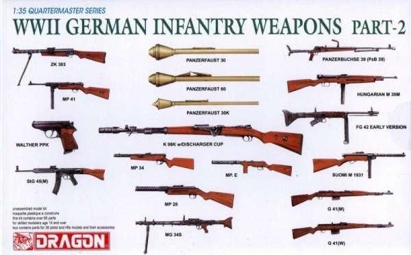 Broń niemieckiej piechoty z okresu II wojny światowej, plastikowa broń Dragon 3816 zestaw 2 w skali 1:35